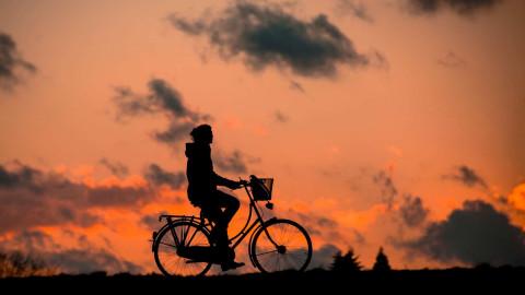 foto van fietsende dame